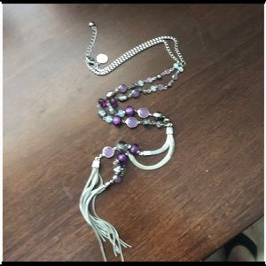 Purple beaded necklace with tassels